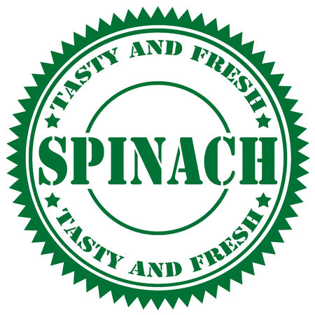spinach: Green rubber stamp with text Spinach,vector illustration