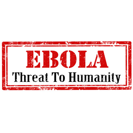 humanidad: Grunge sello de goma con el texto del �bola-amenaza para la humanidad, ilustraci�n vectorial