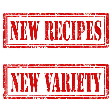 variety: Set of grunge rubber stamps with text New Recipes and New Variety,vector illustration