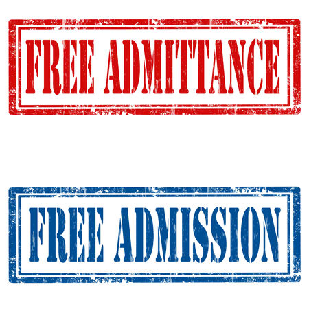 admittance: Set of grunge rubber stamps with text Free Admittance and Free Admission,vector illustration