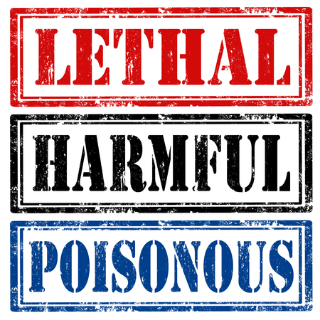lethal: Set of grunge rubber stamps with text Lethal,Harmful and Poisonous,vector illustration