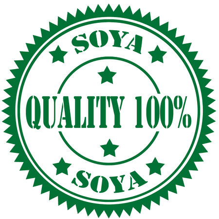 soya: Green rubber stamp with text Soya-Quality 100 ,vector illustration