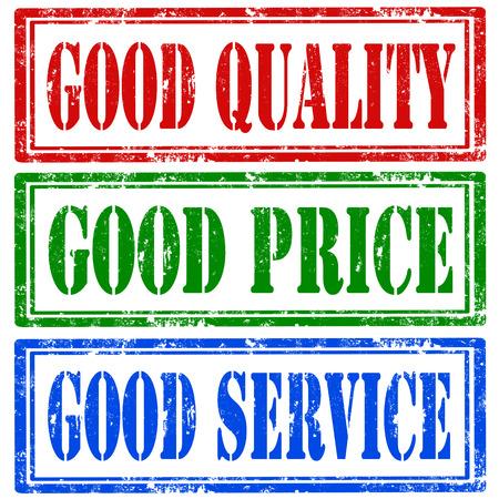 buen servicio: Conjunto de sellos de goma del grunge con el texto de la buena calidad, buen precio y buen servicio, ilustraci�n vectorial Vectores