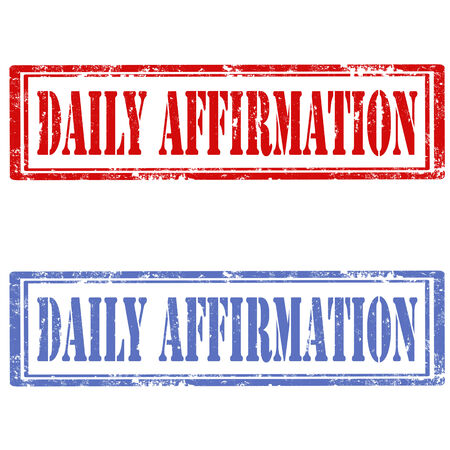 affirmation: Set of grunge rubber stamps with text Daily Affirmation