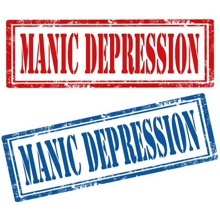 manic: Set of grunge rubber stamp with text Manic Depression,vector illustration Illustration