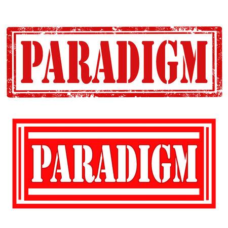 paradigma: Conjunto de sellos con texto Paradigm, ilustraci�n vectorial