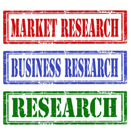 marktforschung: Set Grunge Stempel mit Text Marktrecherche, Forschung und Forschungs, illustration