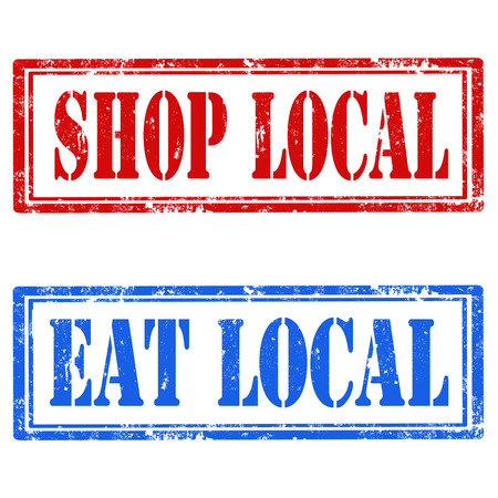 shop local: Set of grunge rubber stamps with text Shop Local and Eat Local,illustration