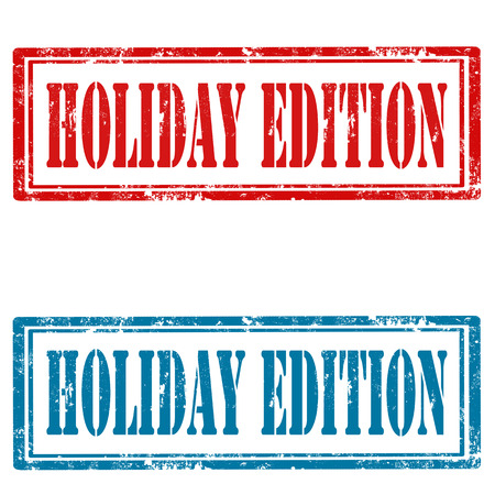 edition: Set of grunge rubber stamps with text Holiday Edition,vector illustration