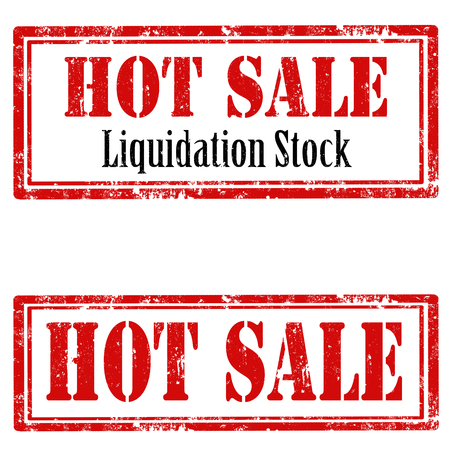 liquidation: Set of grunge rubber stamps with text Hot Sale,vector illustration Illustration
