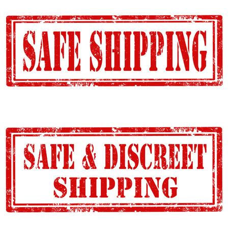 discreto: Conjunto de sellos de goma del grunge con el texto de envío seguro y seguro y discreto envío, ilustración vectorial Vectores