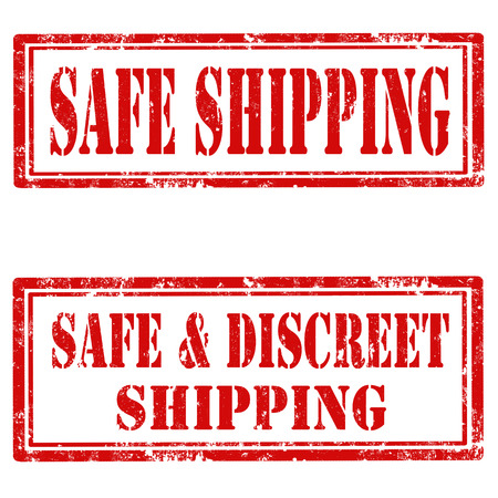 discreet: Set of grunge rubber stamps with text Safe Shipping and Safe & Discreet Shipping,vector illustration