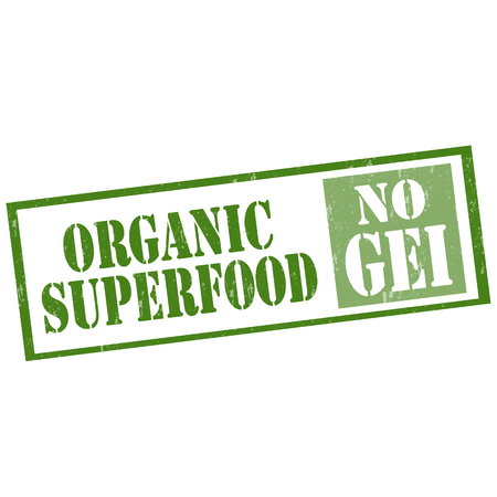 engineered: Grunge rubber stamp with text Organic Superfood-No GEI (Genetically Engineered Ingredients),vector illustration