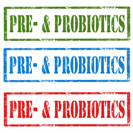 pre: Set of grunge rubber stamps with text Pre-& Probiotics,vector illustration