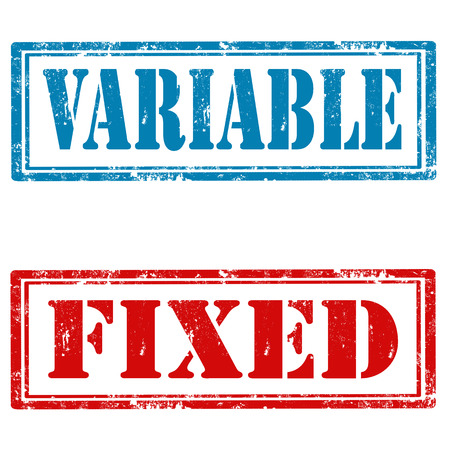 variable: Set of grunge rubber stamps with text Variable and Fixed,vector illustration