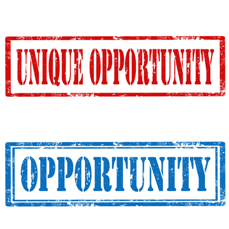 opportunity sign: Set of Grunge rubber stamps with text Opportunity and Unique Opportunity,vector illustration