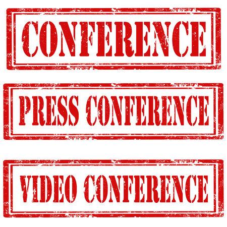 rueda de prensa: Conjunto de sellos de goma del grunge con el texto de la Conferencia, Conferencia de prensa y Video Conferencia, ilustraci�n vectorial