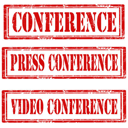 press conference: Set of grunge rubber stamps with text Conference,Press Conference and Video Conference,vector illustration Illustration