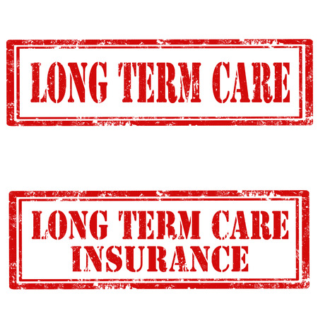 long term: Set of grunge rubber stamps with text Long Term Care and Long Term Care Insurance,vector illustration