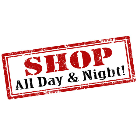 day and night: Grunge rubber stamp with text Shop-All Day & Night