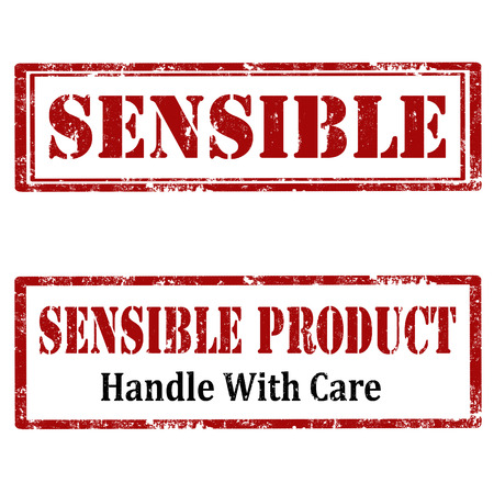 sensible: Set of grunge rubber stamps with text Sensible and Sensible Product,vector illustration Illustration
