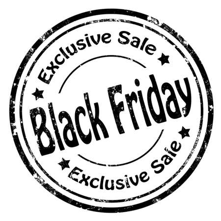 weekdays: Grunge rubber stamp with text Black Friday-Exclusive Sale