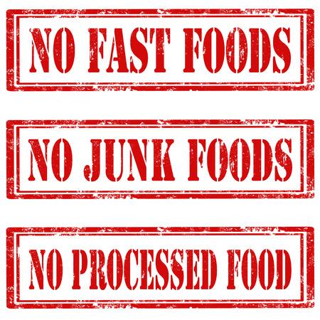 Set van grunge stempels met de tekst No Fast Foods, geen junkfood en No Processed Food, vector illustratie