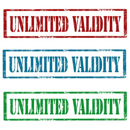 unlimited: Set of grunge rubber stamps with text Unlimited Validity,vector illustration