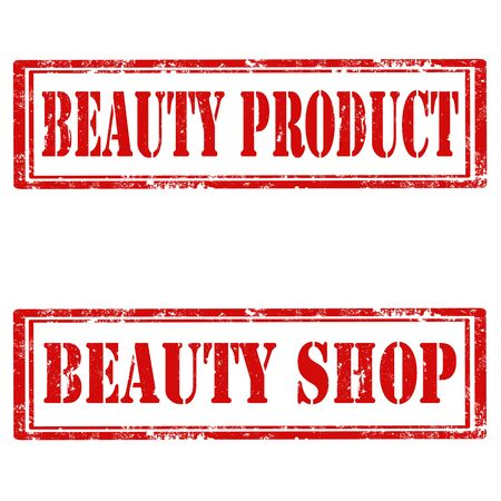 beauty shop: Set of grunge rubber stamps with text Beauty Product and Beauty Shop,vector illustration