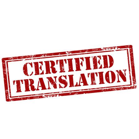 Grunge Stempel mit Text Certified Translation, Vektor-Illustration