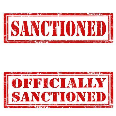 sanctioned: Set of grunge rubber stamps with text Sanctioned and Officially Sanctioned,vector illustration Illustration