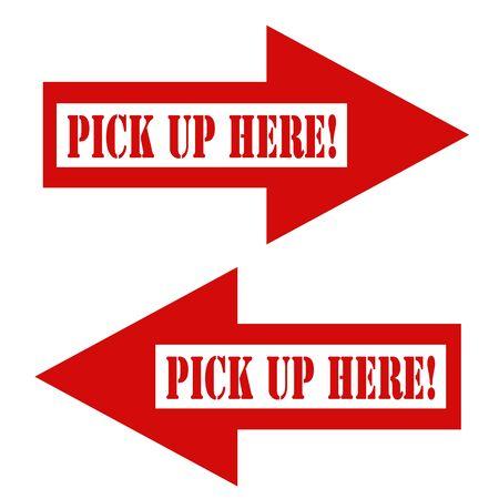 pick up: Ensemble de fl�ches rouges avec le texte Pick Up Ici, illustration vectorielle