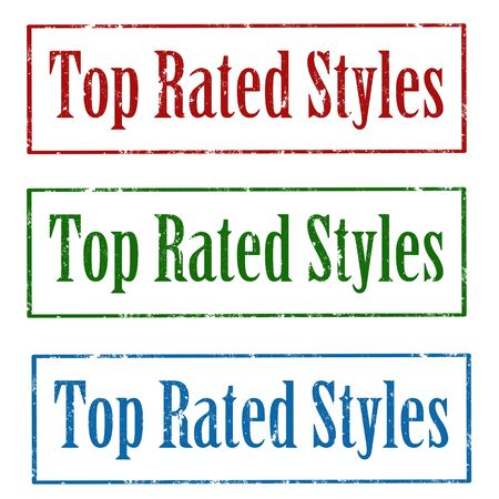 rated: Set of grunge rubber stamps with text Top Rated Styles,vector illustration