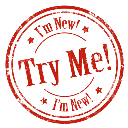 Grunge rubber stempel met tekst Try Me-ik ben New, vector illustratie Stockfoto - 39633483