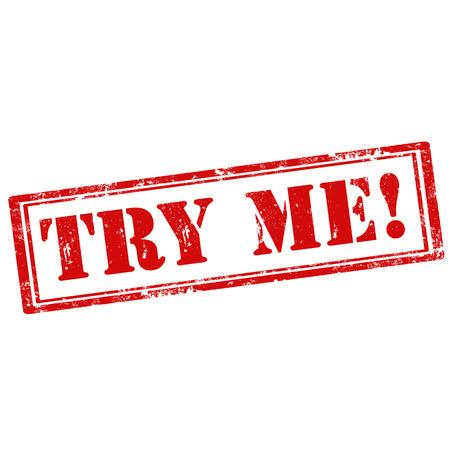 essayer: Grunge, tampon en caoutchouc avec le texte Try Me, illustration vectorielle