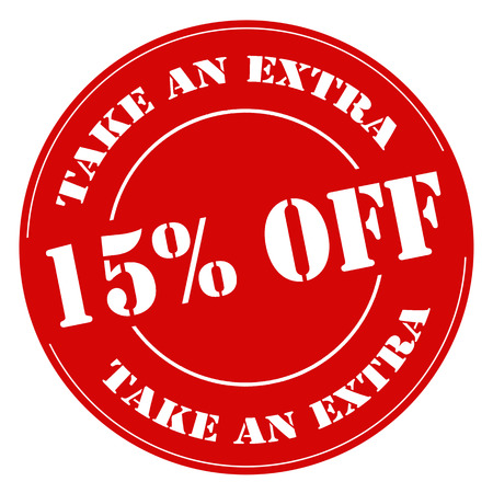 Red stamp with text Take An Extra 15% Off,illustration Vettoriali