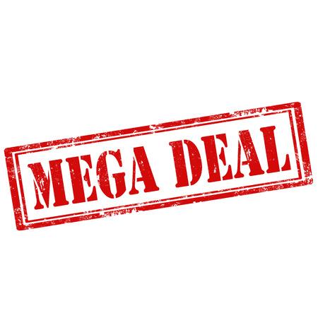 affairs: Grunge rubber stamp with text Mega Deal,vector illustration Illustration