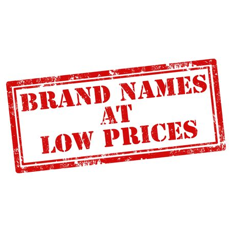 low prices: Grunge rubber stamp with text Brand Names At Low Prices,vector illustration