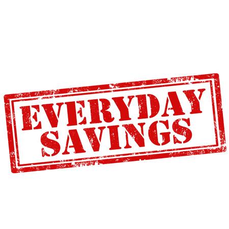 mindennapi: Grunge gumibélyegző a szöveget Mindennapi megtakarítások, vektoros illusztráció Illusztráció