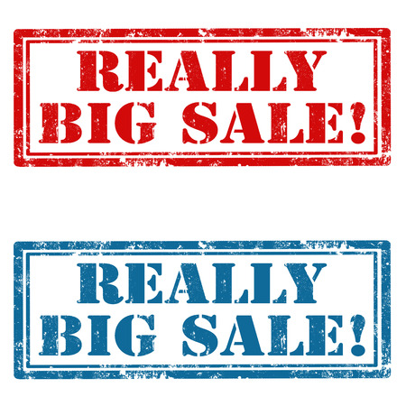 big sign: Set of grunge rubber stamp with text Really Big Sale,vector illustration