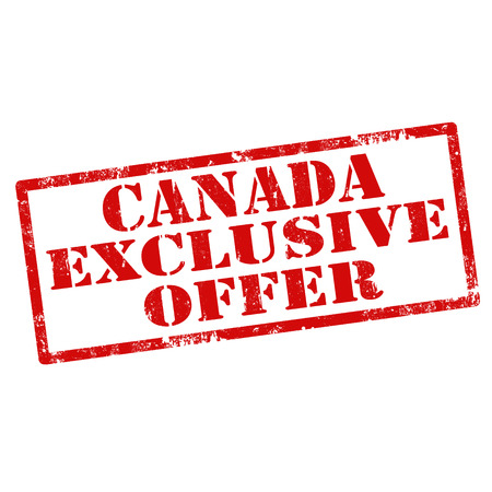 exclusive: Grunge rubber stamp with text Canada Exclusive Offer Illustration