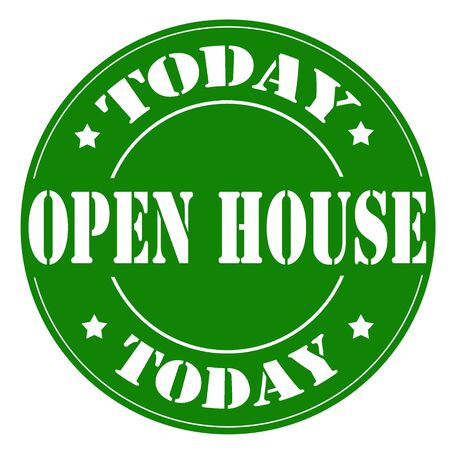 open house: Green stamp with text Open House Today