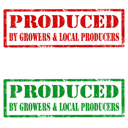 grower: Set of grunge rubber stamps with text Produced By Growers & Local Producers Illustration