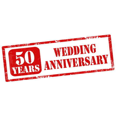 nuptial: Grunge rubber stamp with text 50 Years Wedding Anniversary,vector illustration Illustration