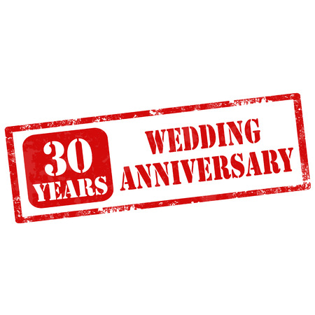 nuptial: Grunge rubber stamp with text 30 Years Wedding Anniversary,vector illustration