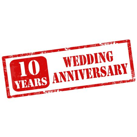 nuptial: Grunge rubber stamp with text 10 Years Wedding Anniversary,vector illustration