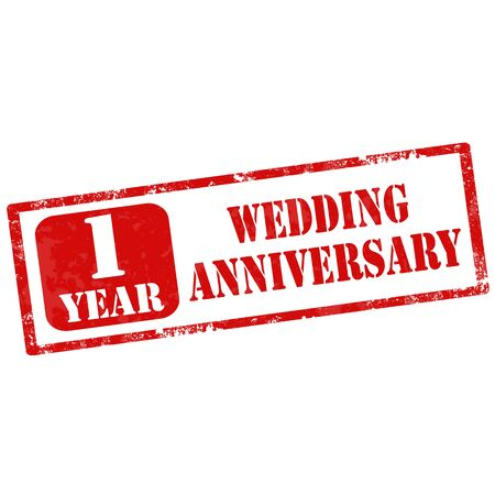 nuptial: Grunge rubber stamp with text 1 Year Wedding Anniversary,vector illustration