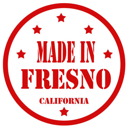san joaquin valley: Red stamp with text Made In Fresno,vector illustration