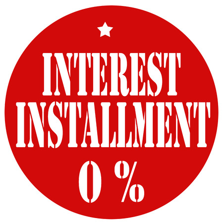 installment: Red label with text Interest Installment 0%,vector illustration