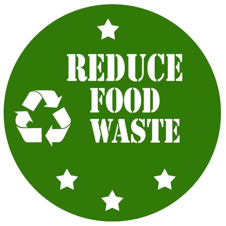eco notice: Green label with text Reduce Food Waste,vector illustration Illustration